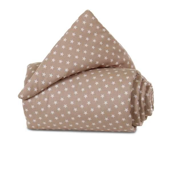 babybay Gitterschutz Organic Cotton für Verschlussgitter, hellbraun Sterne weiß