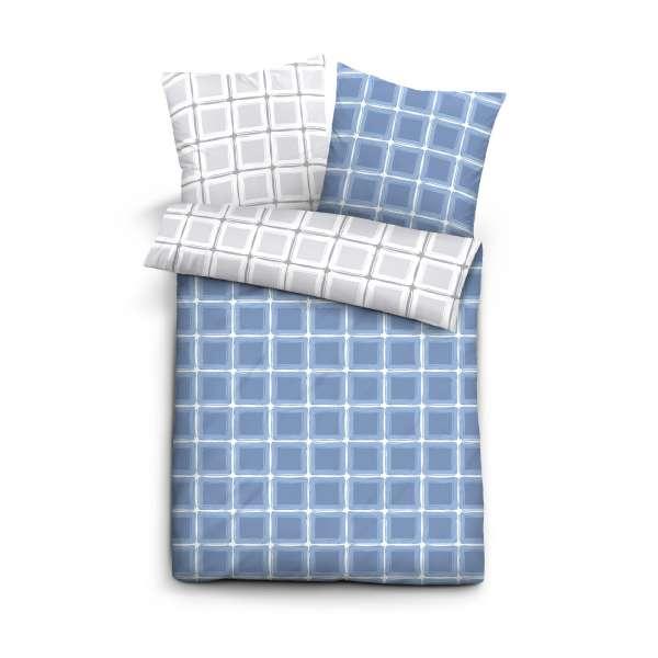 Castell Baumwoll Satin Bettwäsche 60889-256 Größe 135x200/80x80 cm blau