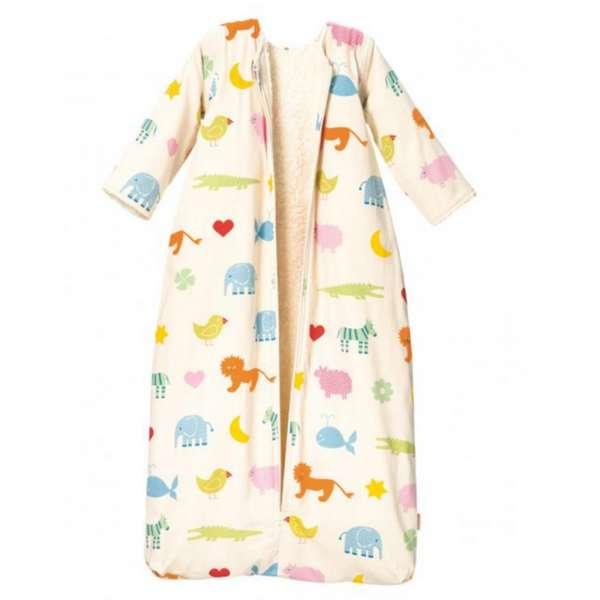 Cotonea Bio-Baumwolle Kinderschlafsack, Plüschfutter, abnehmbare Ärmel, Größe 110, Arche Noah