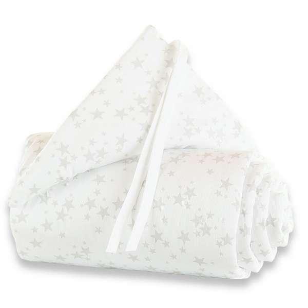 babybay Nestchen Piqué für Maxi, Boxspring und Comfort, weiß Sterne perlgrau