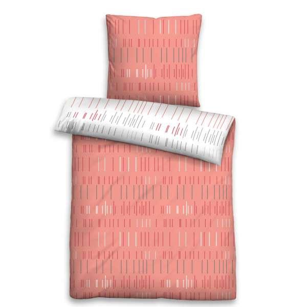 Biberna Soft Seersucker Wendebettwäsche 24229-178 Größe 135x200/80x80 cm rosé