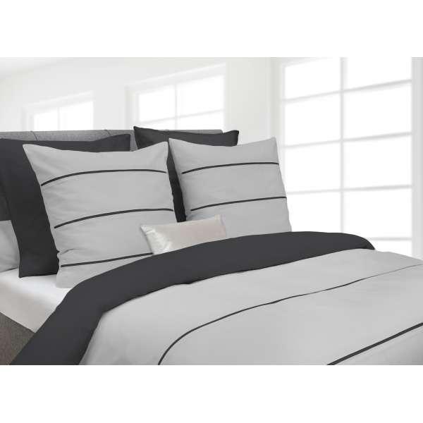 Heckett Lane Royal Cotton Bettwäsche Jason 155x220 cm silver grey/castle grey