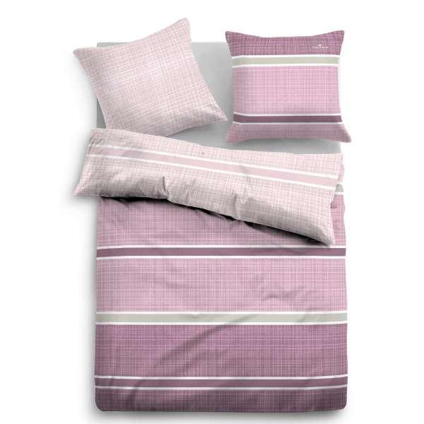 Tom Tailor Satin-Wendebettwäsche Streifen, Größe 135x200/80x80 cm, rosa