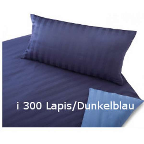 Cotonea Satin Wende-Bettwäsche kbA Linea lapis/dunkelblau 200x200+40x80 cm