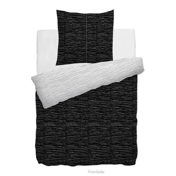 HnL Twill-Baumwolle Wendebettwäsche Gradara 135x200 cm schwarz weiss
