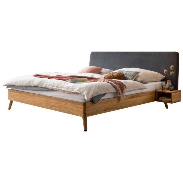 Bed Box Massivholz Bettrahmen Concept Line 100, Wildeiche geölt, Polsterkopfteil und Nachtkonsolen