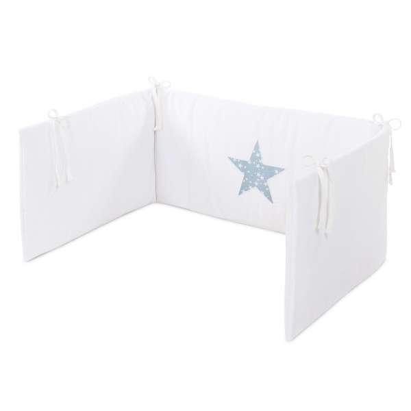 babybay Kinderbettnestchen, weiß Applikation Stern azurblau Sterne weiß