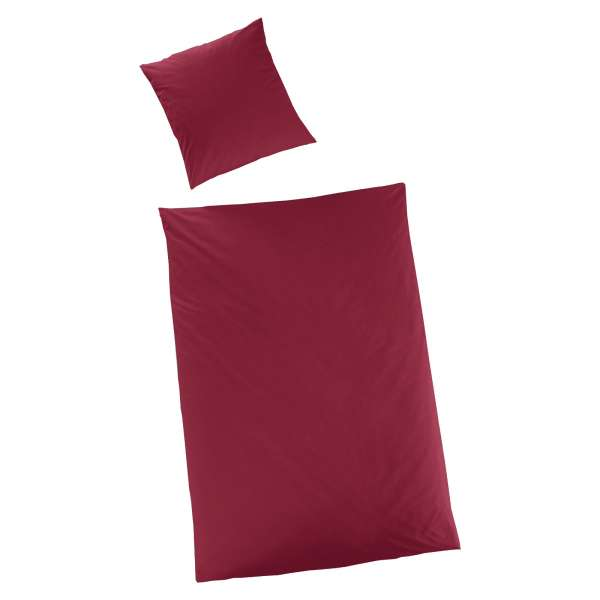 Hahn Haustextilien Luxus-Satin Bettwäsche uni Farbe bordeaux Größe 135x200 cm