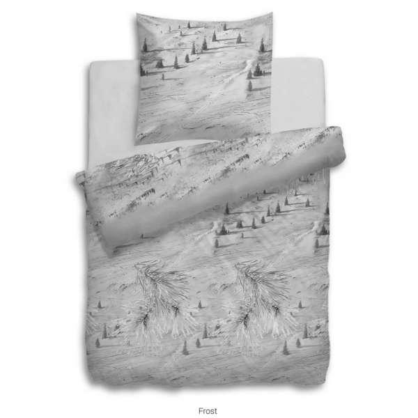 Heckett Lane Flanell Bettwäsche Frost 155x220 cm grau