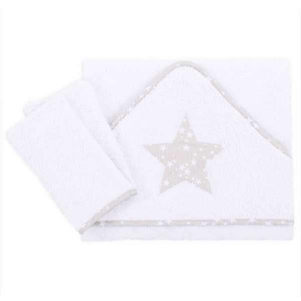 babybay Kapuzenhandtuch 100x100 cm inkl. 2 Waschlappen, weiß Applikation Stern perlgrau