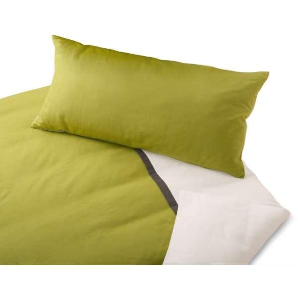 Cotonea Edelbiber-Wende-Bettwäsche kbA mit Zierband gefärbt Größe 155x220+80x80 cm Kissenbezug