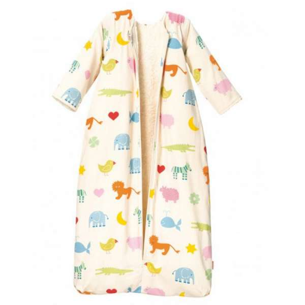 Cotonea Bio-Baumwolle Kinderschlafsack mit Plüschfutter/abnehmbare Ärmel Arche Noah