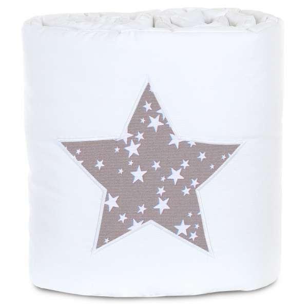 babybay Nestchen für Maxi und Boxspring, weiß Applikation Stern taupe/weiß