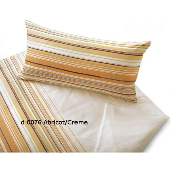 Cotonea Bio-Satin-Bettwäsche Sonate abricot/creme Größe 135x200+40x80 cm Kissenbezug