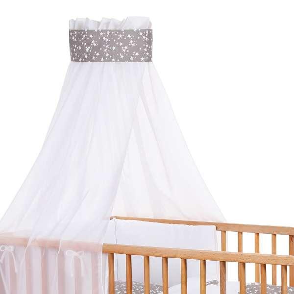 babybay Kinderbetthimmel Piqué mit Band, Applikation Stern taupe Sterne weiß
