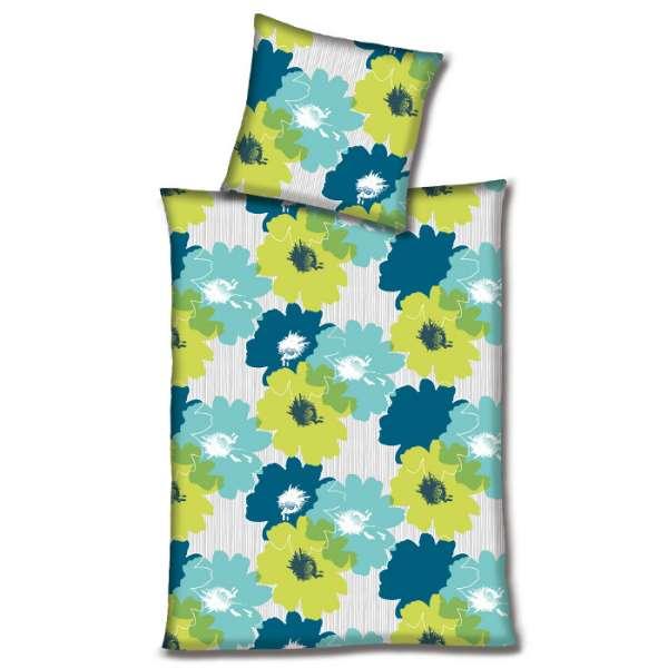 Hahn Haustextilien Microfaser Bettwäsche Blüten Blaugrün 135x200 Cm