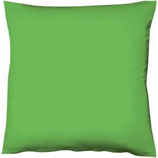 Fleuresse Mako-Satin-Kissenbezug uni colours, Farbe 7048 grasgrün, Größe 80x80 cm