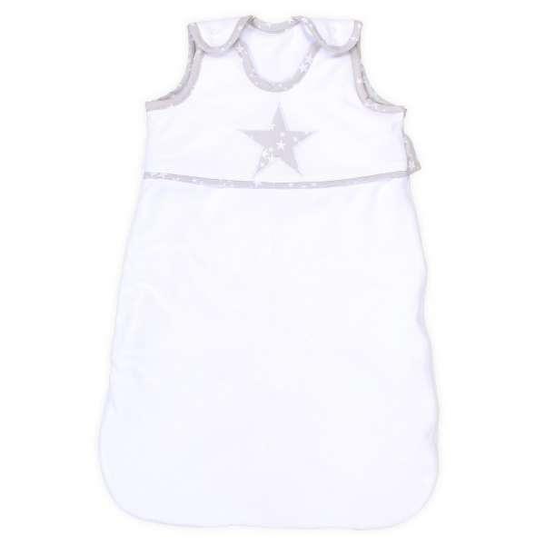 babybay Schlafsack Organic Cotton, weiß Applikation Stern perlgrau Sterne weiß