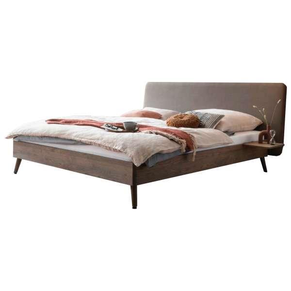 Bed Box Massivholz Bettrahmen Concept Line 100, Wildeiche grau, mit Polsterkopfteil und Nachtkonsole