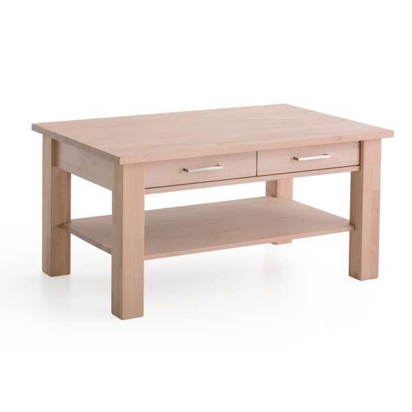 DICO Möbel Couchtisch Ch 120 B Massivholz Buche/Wildeiche Größe 130x80 cm mit Ablage und Schublade