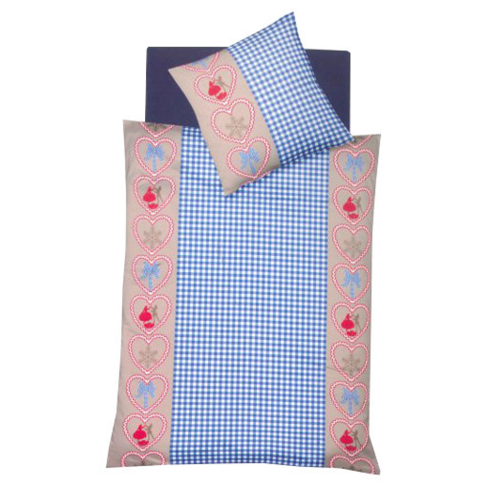 fleuresse biber bettw sche herzen blau 135x200 cm ebay. Black Bedroom Furniture Sets. Home Design Ideas